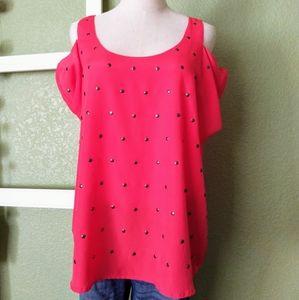 Red cold shoulder blouse